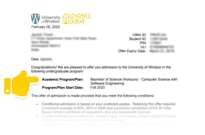 UWindsor Offer of Admission letter
