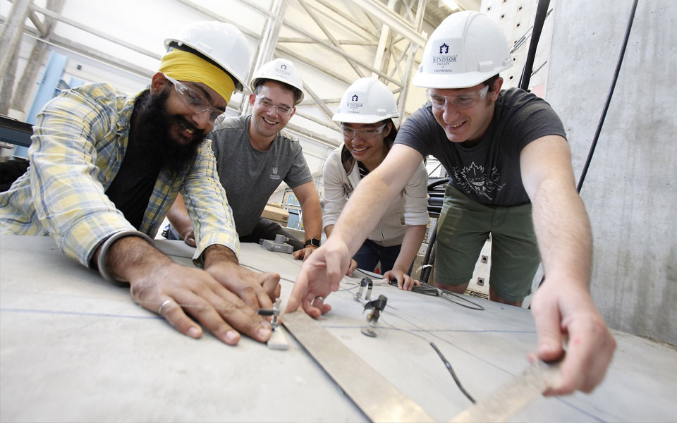 Civil Engineering students experimenting